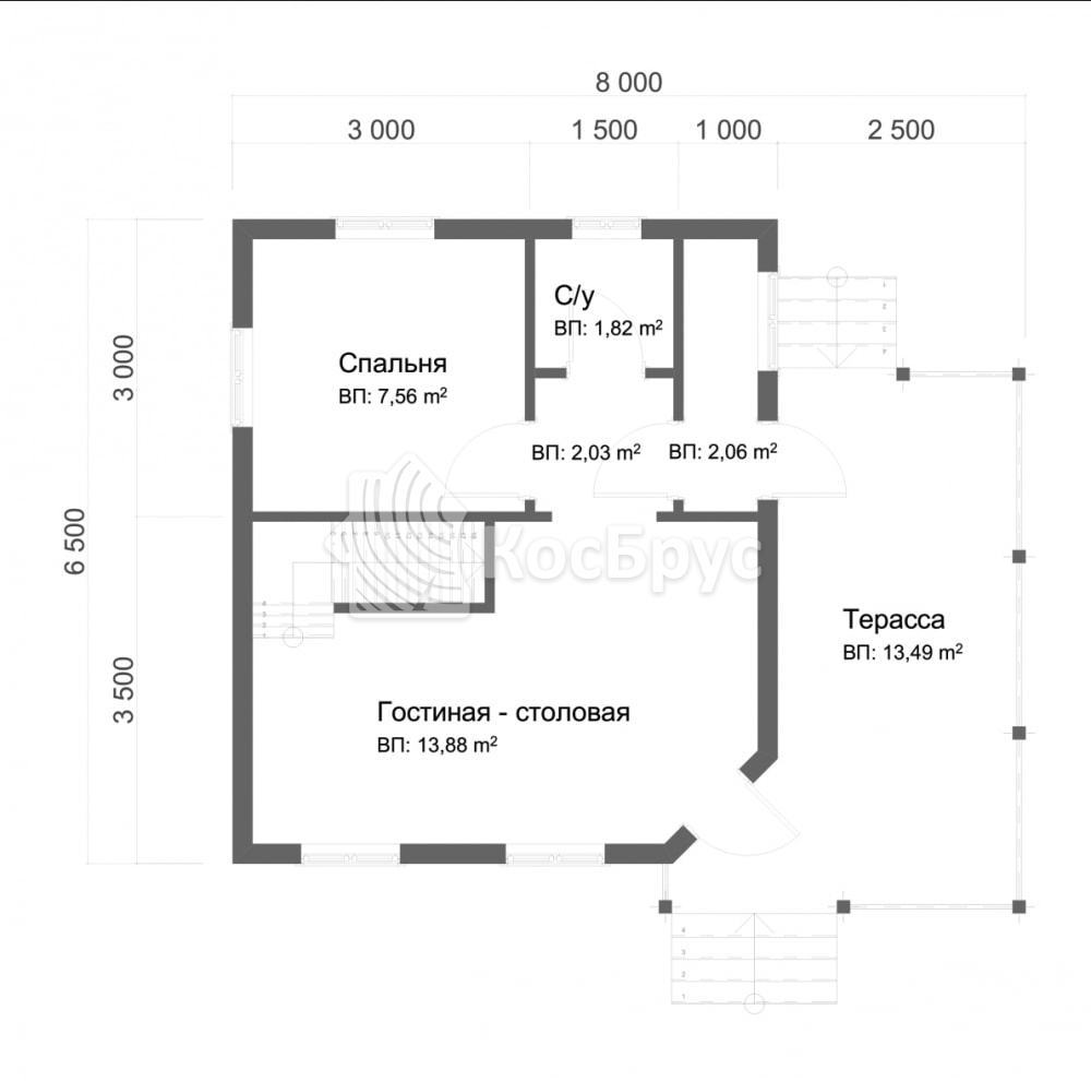 Проект дома из бруса с мансардой 6.5х8.0 м