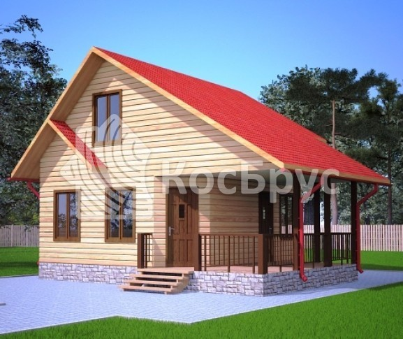 Проект дома из бруса с мансардой 6.5х8.0 м «Пенза»