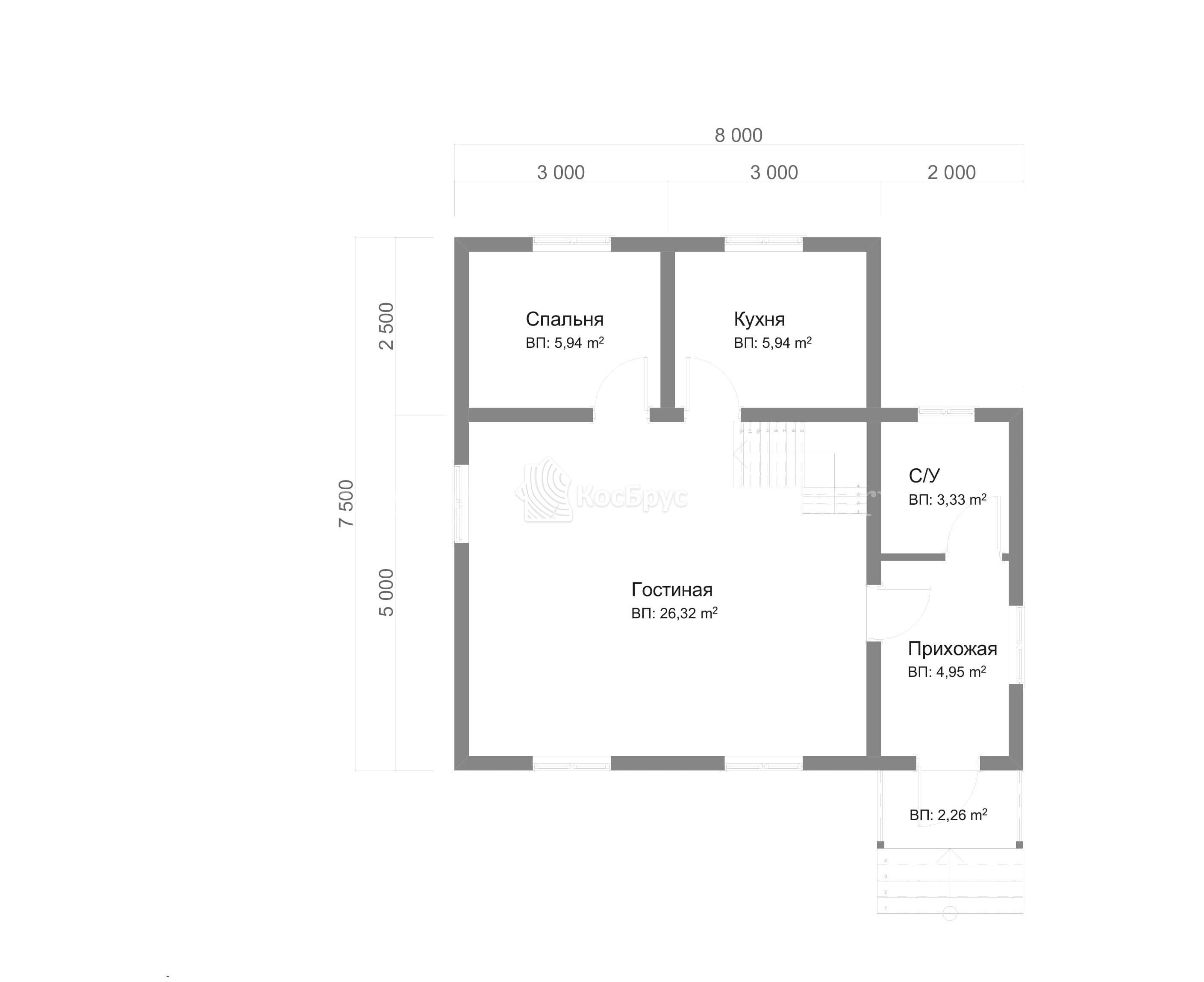 Проект дома из бруса с мансардой 7.5х8.0 м