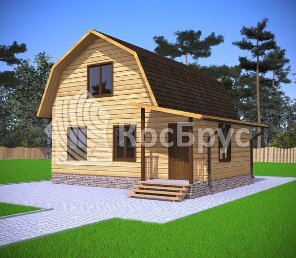 Проект дома из бруса с мансардой 7.5х8.0 м «Галич»