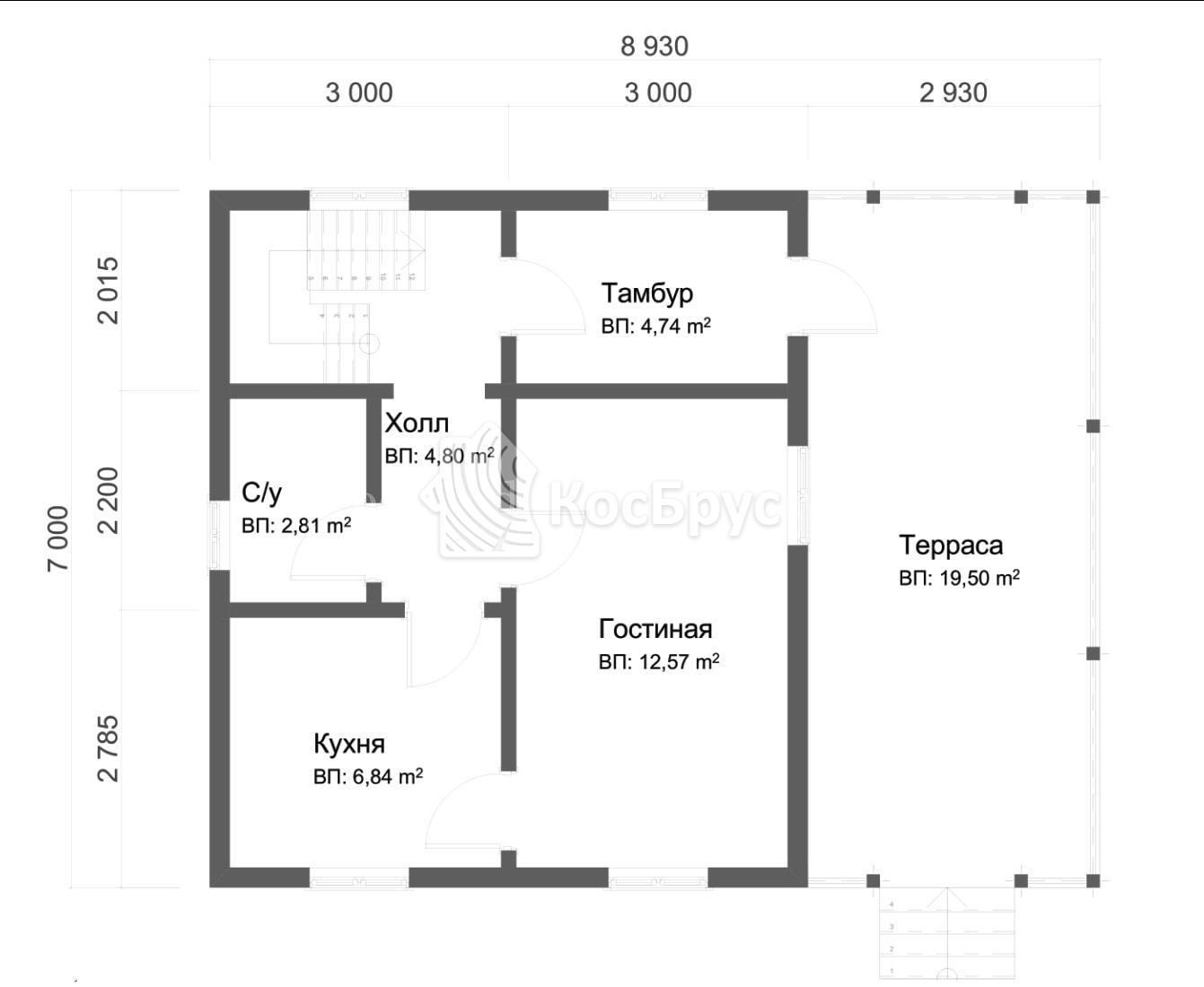 Проект дома из бруса с террасой 7.0х9.0 м