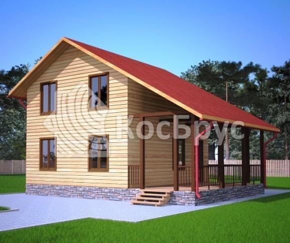 Проект дома из бруса с террасой 7.0х9.0 м «Саранск»