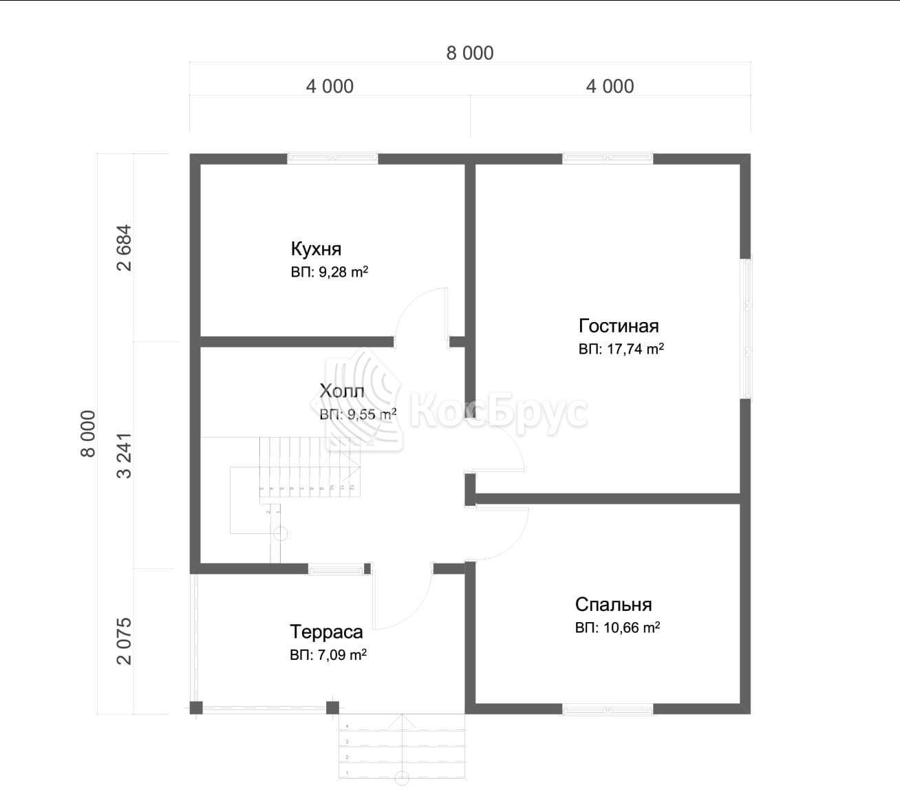 Проект дома из бруса с террасой и балконом 8.0х8.0 м