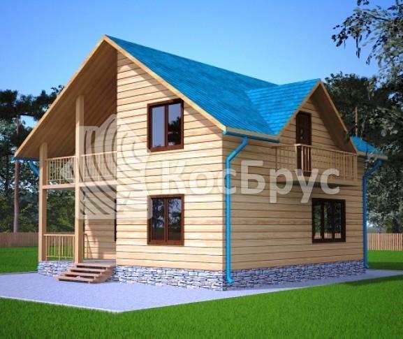 Проект дома из бруса с террасой и балконом 8.0х8.0 м «Находка»