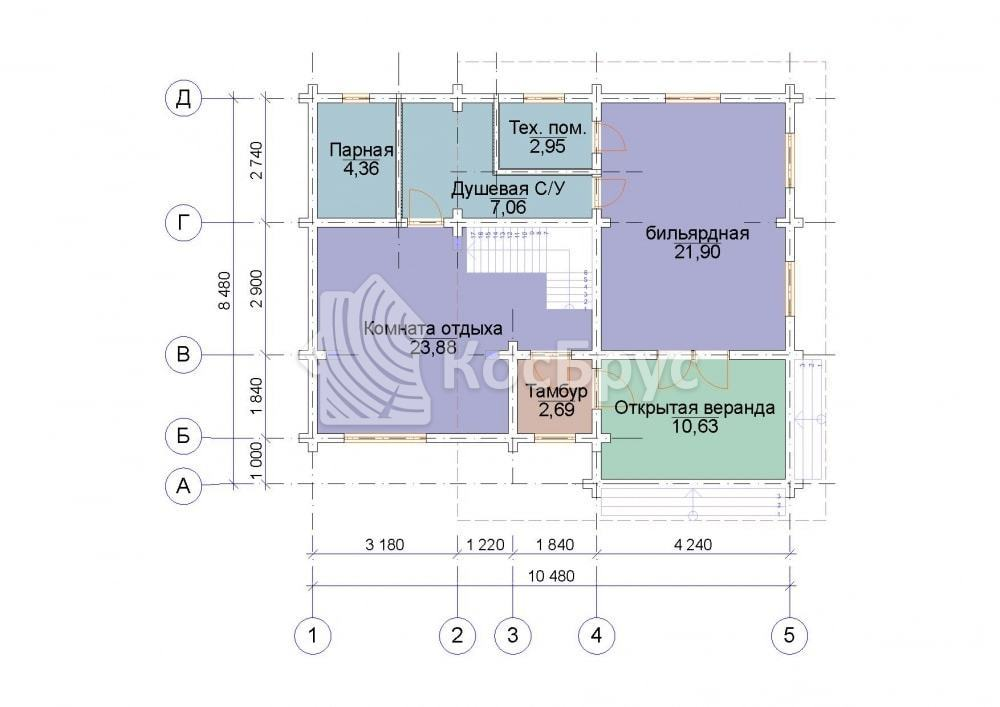 Проект дома с баней 8.5х10.5 м