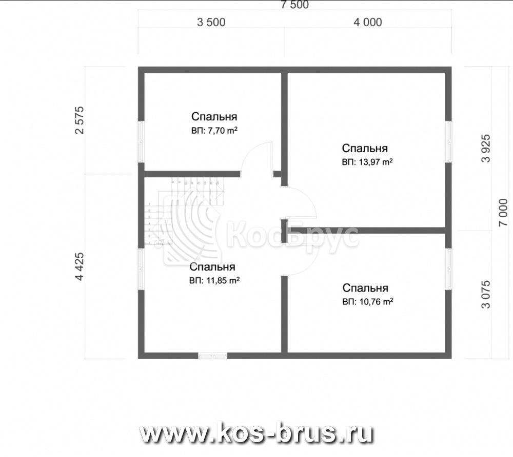 Проект дома в полтора этажа с крыльцом 7.0х7.5 м
