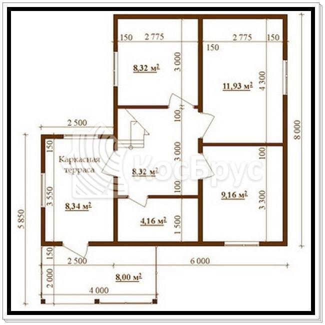Проект двухэтажного дома из бруса 6.0 х 8.0 м