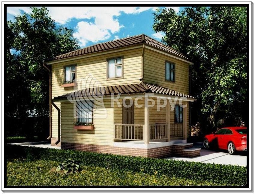 Проект двухэтажного дома из бруса 6.0 х 8.0 м «Оскар»
