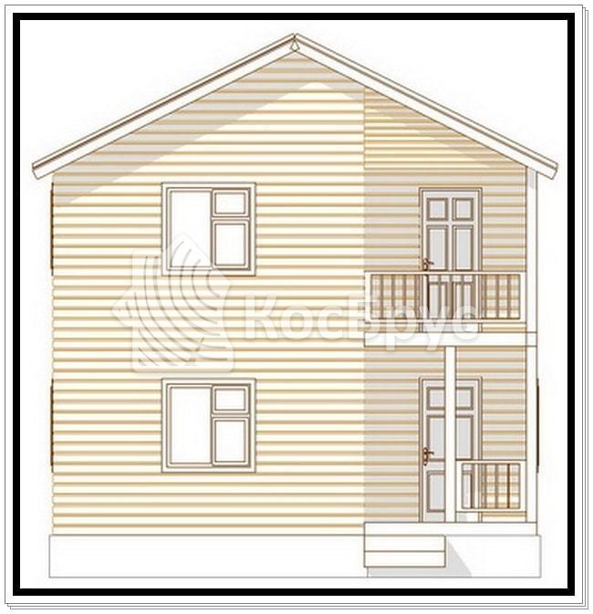 Проект двухэтажного дома из бруса 7.0х7.0 м