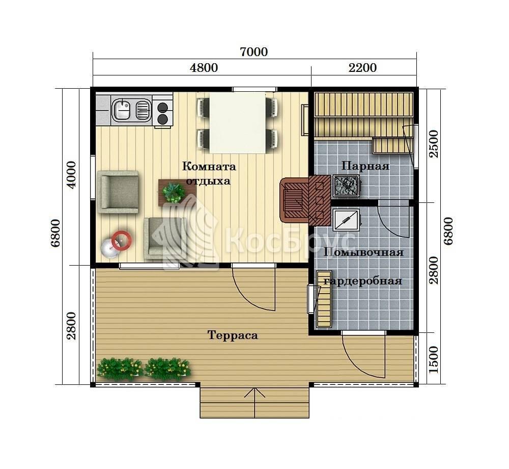 Проект индивидуальной бани 6.8 х 7.0 м