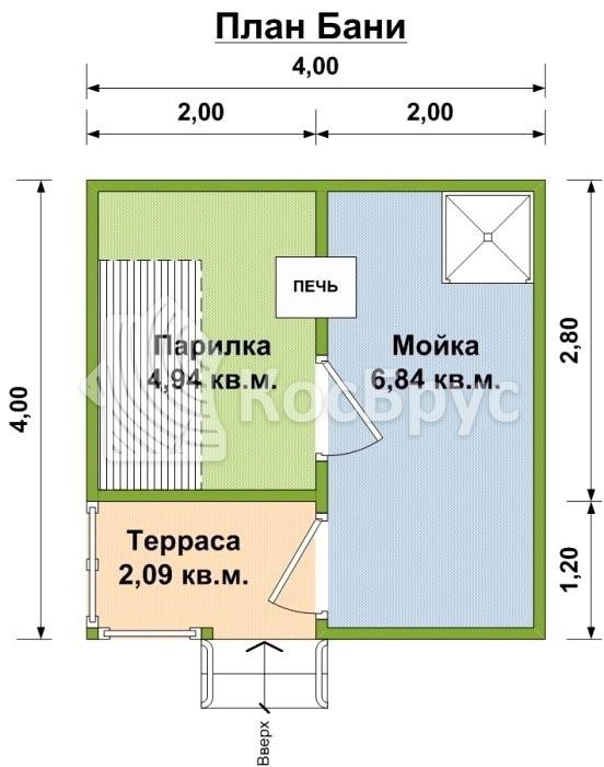 Проект компактной бани 4.0х4.0 м
