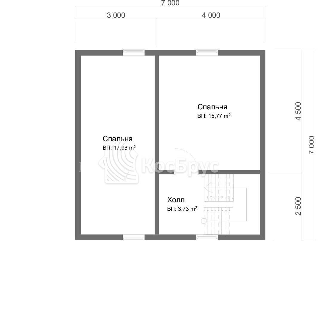 Проект полутораэтажного дома из бруса с верандой 7.0 х 10.0 м