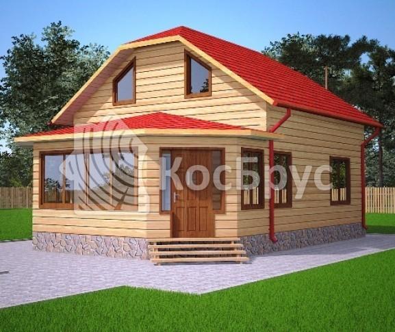 Проект полутораэтажного дома из бруса с верандой 7.0 х 10.0 м «Чебоксары»