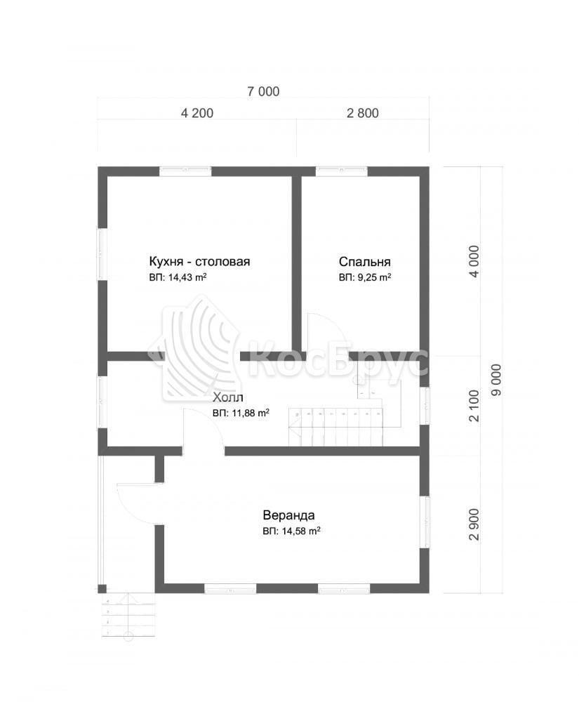 Проект полутороэтажного дома с террасой 7.0х9.0 м