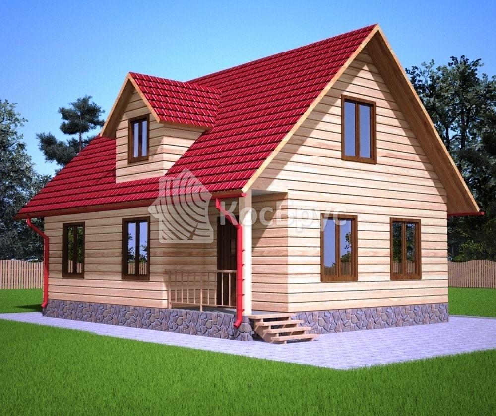 Проект полутороэтажного дома с террасой 7.0х9.0 м «Алагир»