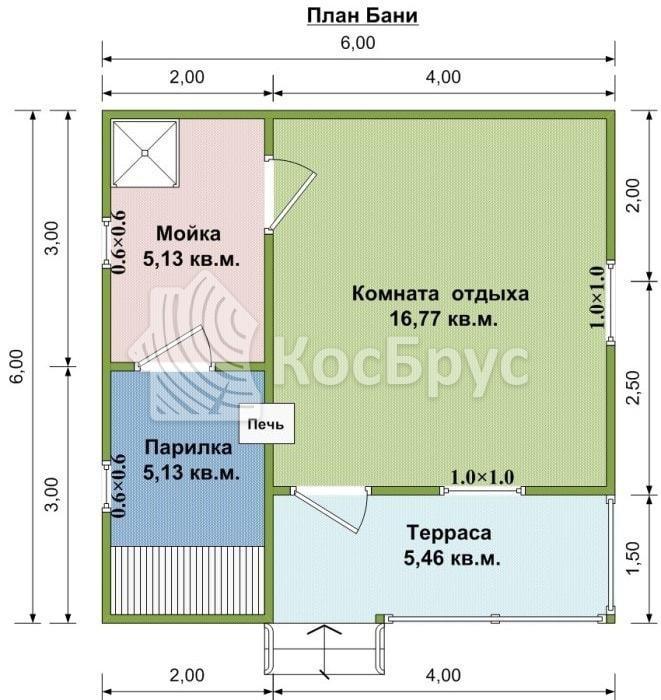 Типовой проект бани 6.0х6.0 м
