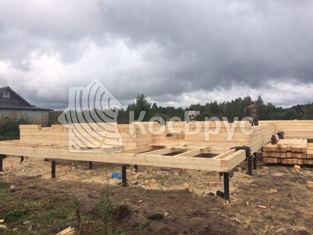 Строительство дома из необрезного бруса, д. Хилово по проекту 9х13, осень 2016 года