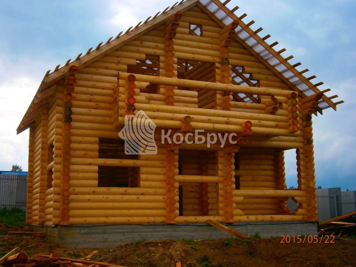Строительство гостевого дома бани из бревна Д240 мм в Пушкинском районе Московской области д. Хлопенево
