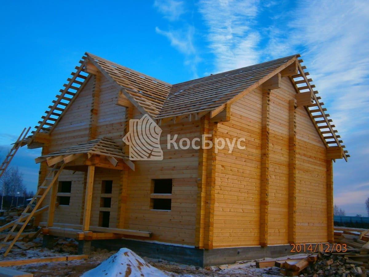 Дом из профилированного бруса 140х190 мм, запил углов «в чашу»