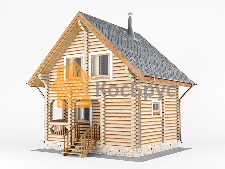 Проект дома с баней 5.5х6.8 м 1.5 эт