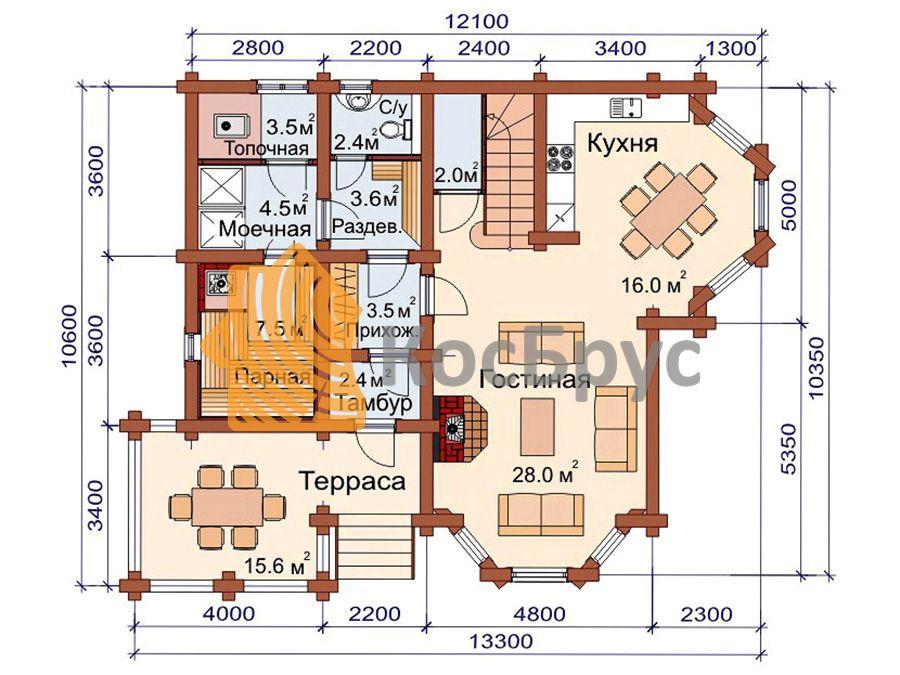 Проект дома с баней 10.6х13.3 м 1.5 эт