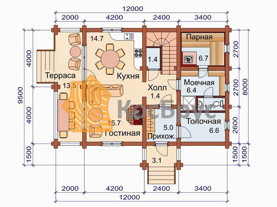 Проект дома с баней 8.0х12.0 м 1.5 этажа