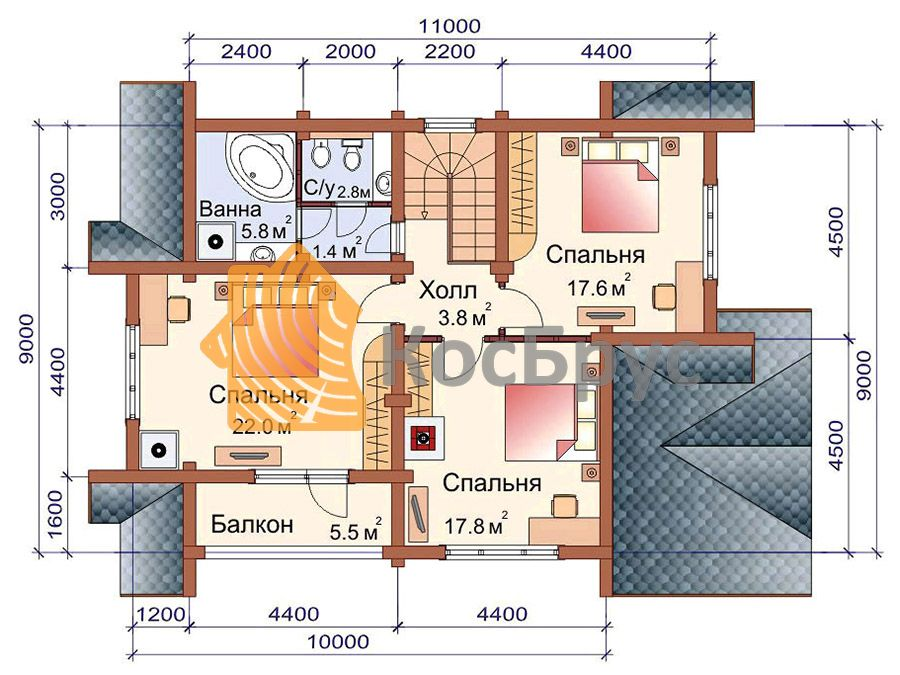 Проект дома с баней 9.0х13.4 1.5 эт