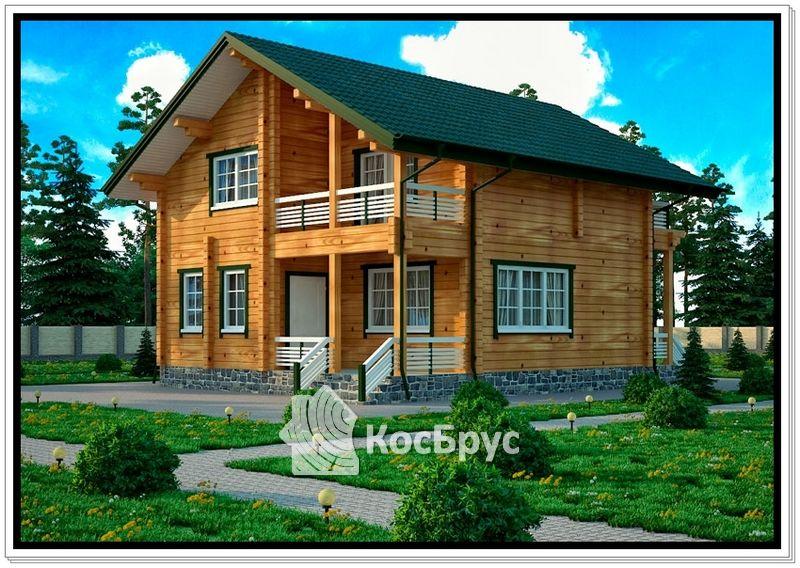 Проект дома из бруса 8 на 8 м