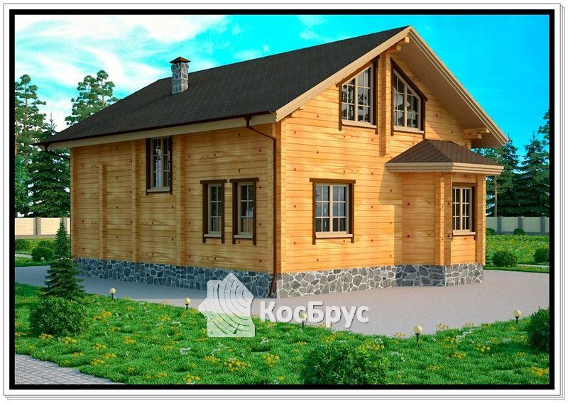 Проект дома из профилированного бруса 11 х 14 м с эркером