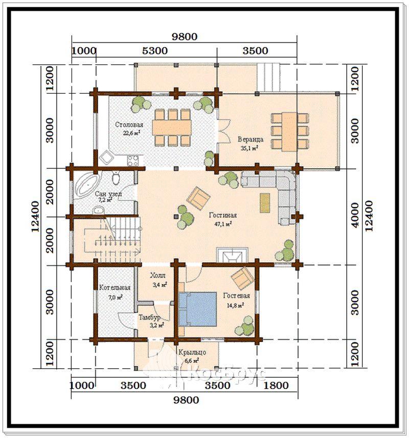 Проект дома из профилированного бруса 9,8 х 12,4 м со вторым светом