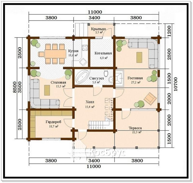 Проект дома из профилированного бруса 8,5 х 11 м
