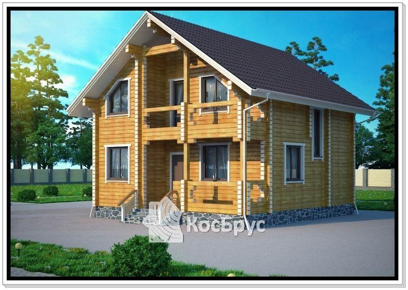 Проект дома из профилированного бруса 9,3 х 9,7 м с мансардой
