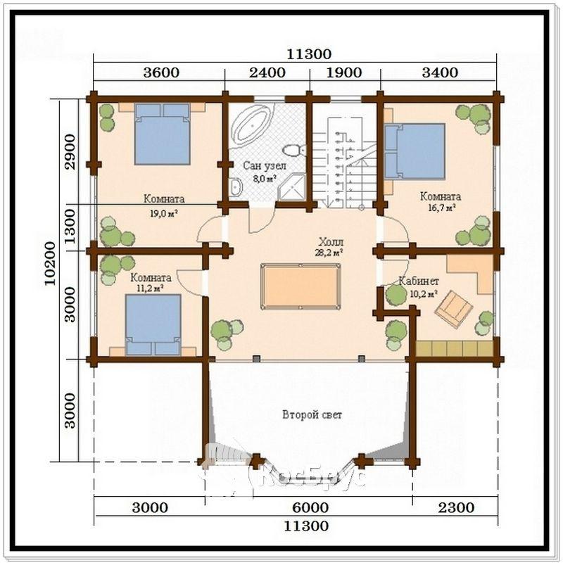 Проект дома из профилированного бруса 10,2 х 11,3 м