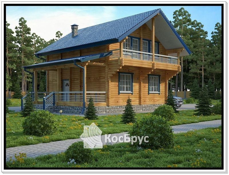 Проект дома из профилированного бруса 10,1 х 10,3 м с тремя спальнями