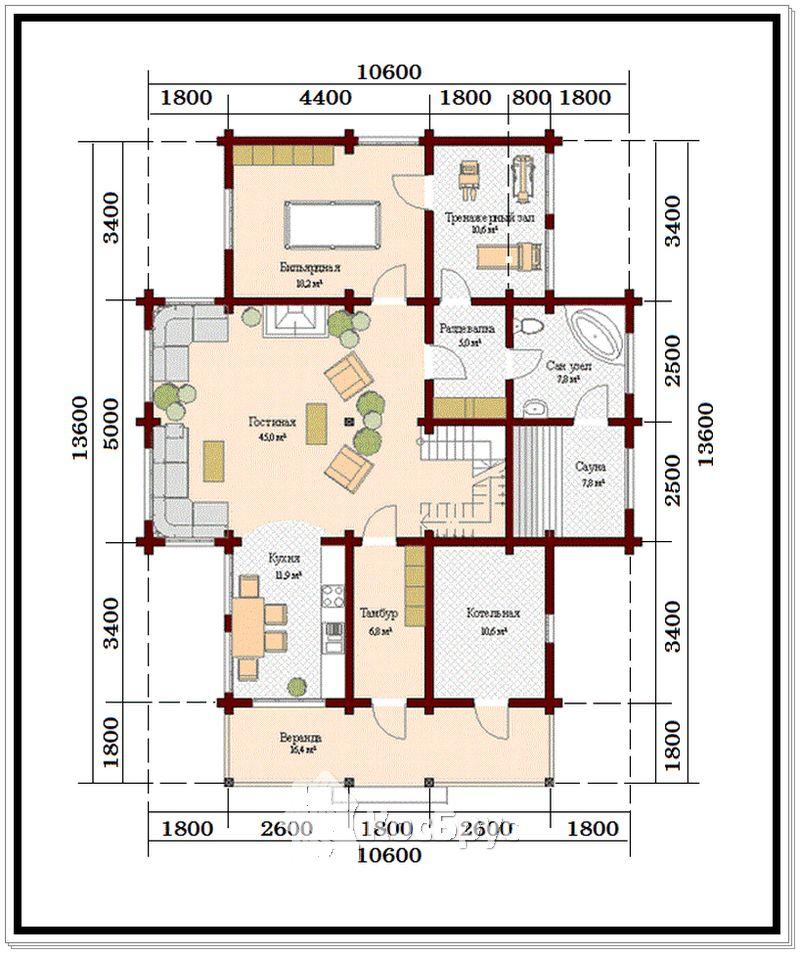 Проект дома из профилированного бруса 10,6 х 13,6 м с верандой