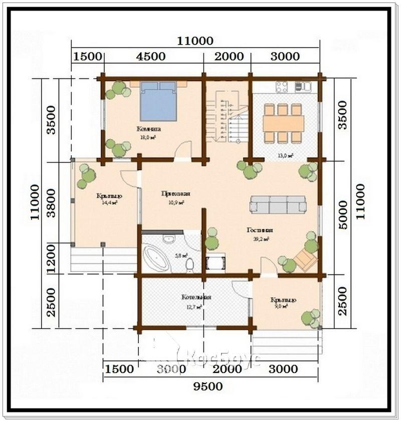 Проект дома из профилированного бруса 11 х 11 м