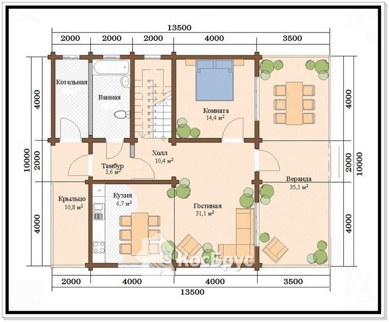 Проект дома из профилированного бруса 10 х 13,5 м