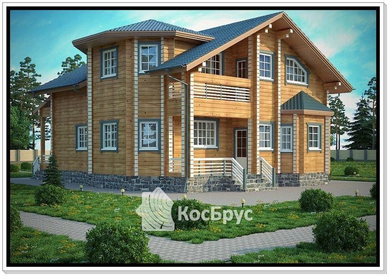 Проект дома из профилированного бруса 9,5 х 11,8 м