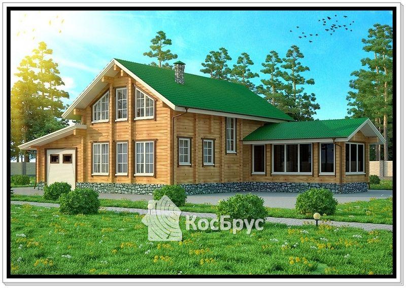 Проект дома из профилированного бруса 10 х 11,5 м с бассейном