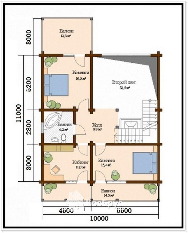 Проект дома из проф бруса с двумя входами