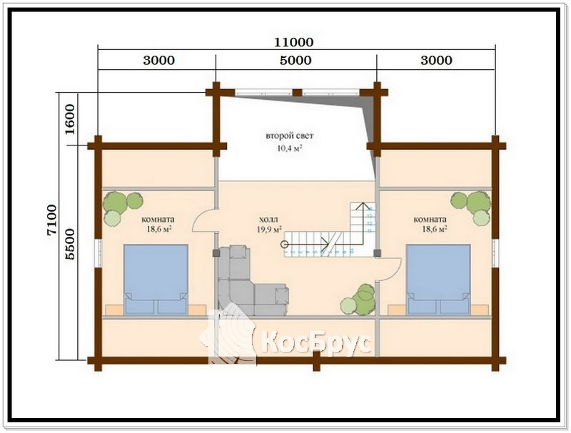 Проект полутораэтажного дома из проф бруса