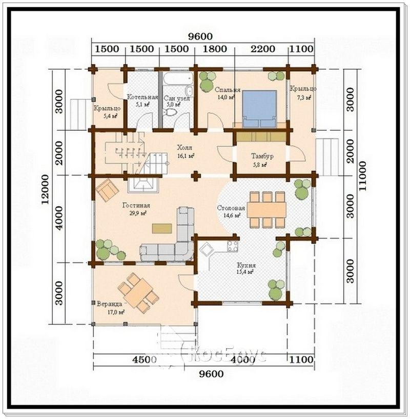 Проект дома из профилированного бруса 9,6 на 11