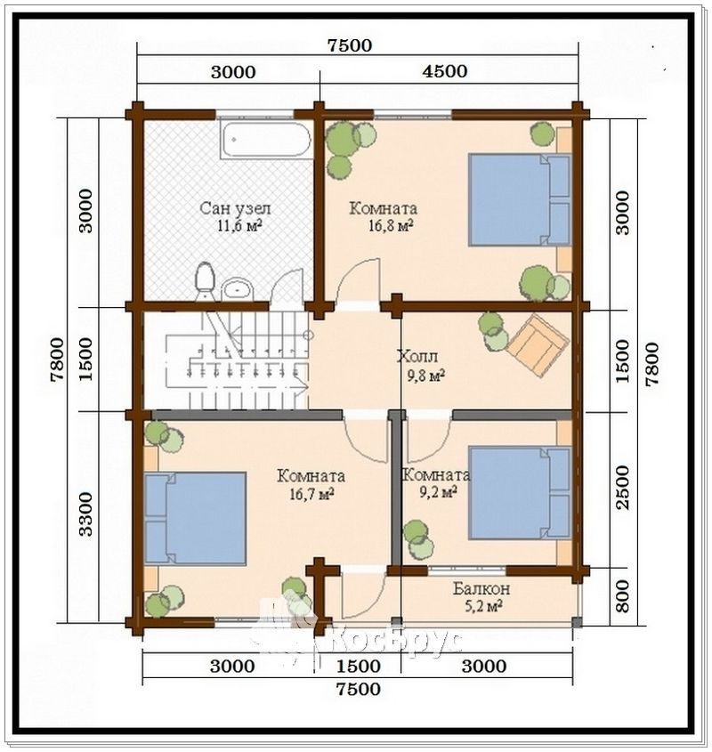 Проект дома из профилированного бруса 10 на 11