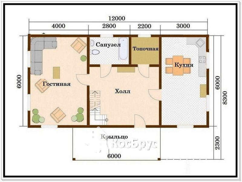 Дом из профилированного бруса 6 на 12