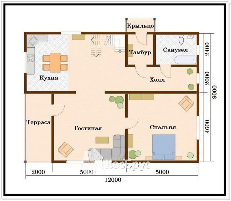Проект дома из проф бруса 9 на 12 с мансардой